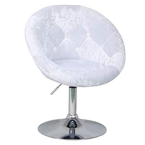 SVITA Havanna Premium Sessel Lounge Clubsessel Drehsessel Samt-Optik glänzend Retro Weiß Barhocker Cocktailsessel