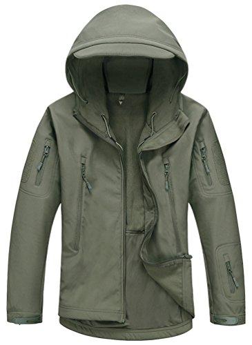 Chaqueta táctica con capucha para hombre Kelmon, chaqueta, Manga Larga, Hombre, color Ejercito Verde, tamaño Medium
