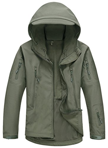 Kelmon Uomo Softshell Cappuccio Tattico Giacca, Army Green, Medium