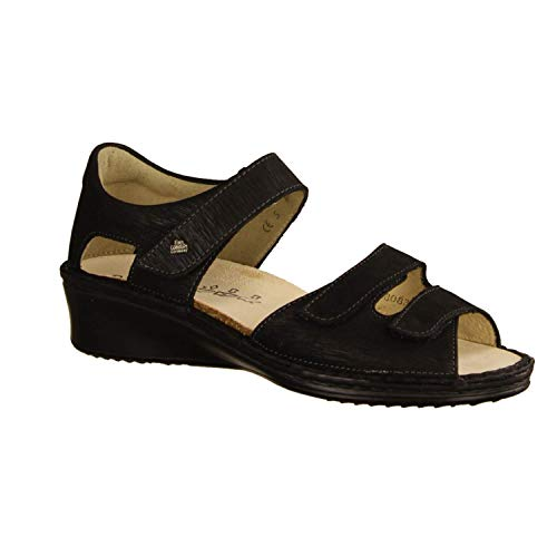 FinnComfort Damen Sandaletten FES Stone (schwarz) - Sandale mit Loser Einlage - Damenschuhe Sandale bequem/lose Einlage, Schwarz, Leder (Monroe) Finn Comfort schwarz 470730