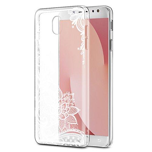 Funda Samsung Galaxy J7 2017, Eouine Cárcasa Silicona 3D Transparente con Dibujos Diseño Suave Gel TPU Antigolpes de Protector Bumper Case Cover Fundas para Movil Samsung J72017, Flor Blanca