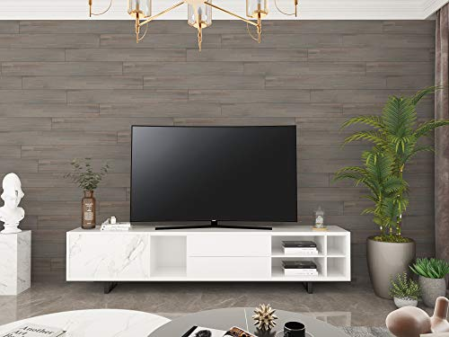 """Interbuild Solid Acacia Wood Shiplap Wall Paneling with Butt Edge for Indoor Use- 48"""" x 5.4"""" x .4"""" - (Pack of 5) - Dusk Grey"""