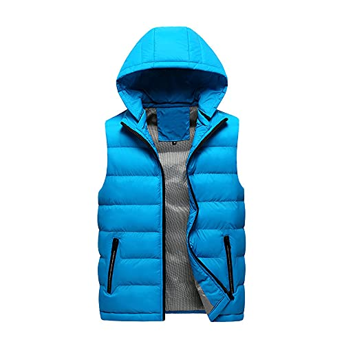 Chaleco para hombre de ajuste entallado, sin mangas, casual, abrigos al aire libre, otoño e invierno, chaqueta con capucha, azul celeste, XXXL