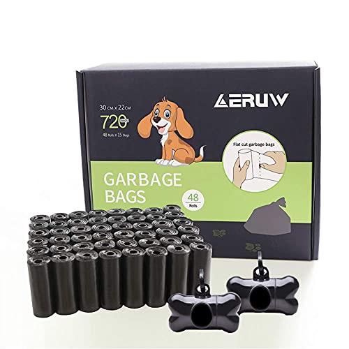 Sacchetti Cane, Sacchetti igienici per Cani con Dispensers, Extra Spesso a Prova di perdite Sacchetti per Cani (48 Rotoli/ 720 Pezzi) (nero, 12*9)