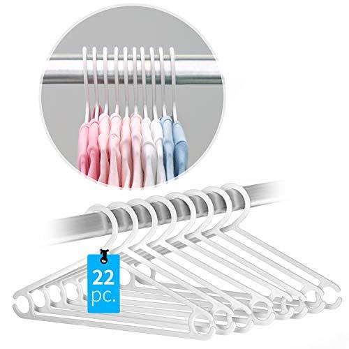 Laloona - Appendiabiti colorati - 22 appendini sottili per i vestitini di bambini e neonati | Grucce salvaspazio per armadio | Bianco