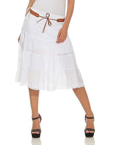 ZARMEXX falda verano mujeres hasta rodilla falda tela