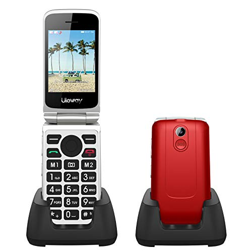 Uleway 3G Senior Flip Phone Unlocked with SOS Button Tmobile Flip Phone Dual Card 2.8 Inch Screen GSM Flip Phone Large Button Large Volume Basic Cell Phones with Charging Dock(Red)
