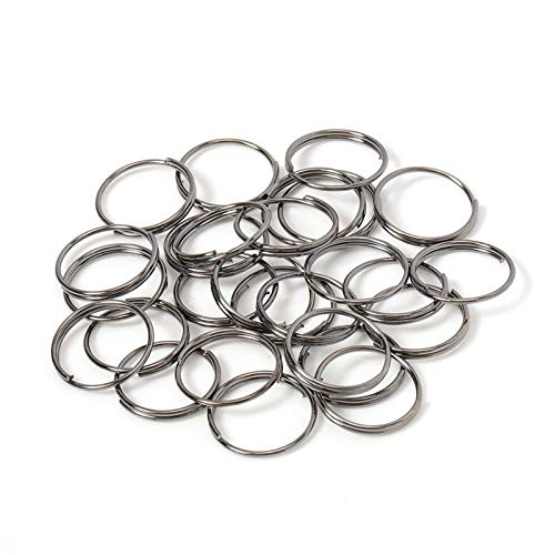 Xssbhsm Key rings metal 200pcs Key Holder Open Jump Rings Split Rings Double Loops Circle 5-14mm Keychain Ring Connectors for Jewelry Making (Color : Gun Black, Gem Color : 14mm)