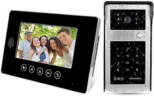 Lsmaa 7inch Intercom Video Deurbel Telefoon Systeem Touch Digitale Monitor 25 Ringen met Waterdichte Outdoor Camera IR Nachtzicht met 125KHz RFID Keyfobs
