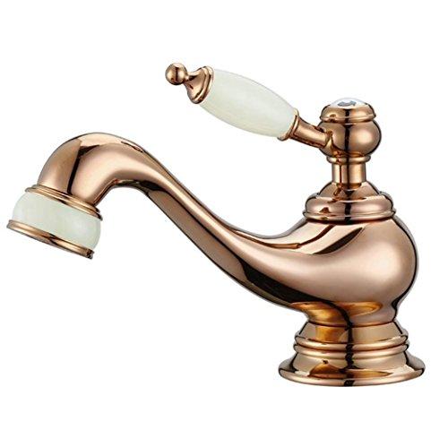 Pure koper rose goud kraan badkamer warm en koud kan worden zwaaien een enkele put bekken kraan