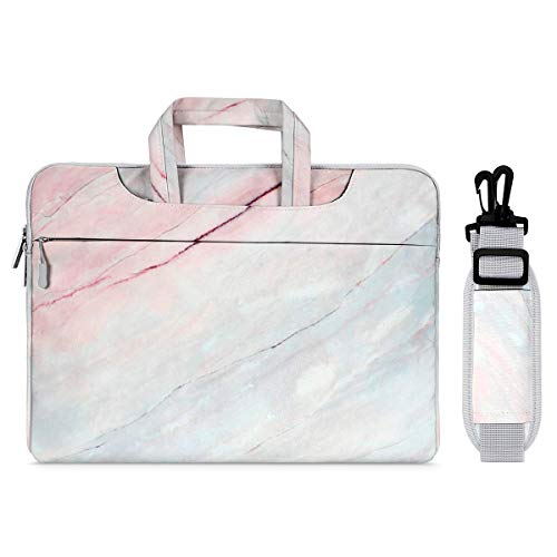 MOSISO Laptop Shoulder Bag Compatible with MacBook Pro 16 inch A2141, 15 15.4 15.6 inch Dell Lenovo HP Asus Acer Samsung Sony Chromebook, Marble Pattern Carrying Briefcase Sleeve Case, Pink & Blue