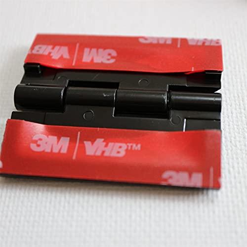 10x Negro Bisagras acrílicas: no se requiere pegamento. Autoadhesivas. Plástico Negro acrílico 45mm