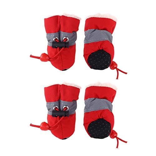 Balacoo Hundeschuhe Hund Anti Rutsch Pfotenschutz Regen Schuhe Winter Warme Haustier Schnee Stiefel Hundestiefel für Kleine Hunde Welpen Schnauzer Teddy Pudel Chihuahua Katz (Rot Größe 7)