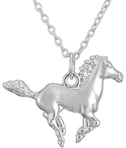 Lemegeton - Collier avec Pendentif cheval au galop Pour filles
