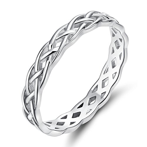 SOMEN TUNGSTEN 925 Sterling Silver Ring 4mm Eternity Celtic Knot Wedding Band for Women Size 8
