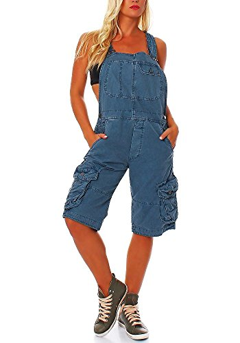 Jet Lag Damen Overall Shorts mit Brusttasche Blue Denim XL