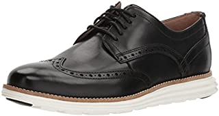 Cole Haan Men's Original Grand Shortwing Oxford Shoe, Black Leather/White, 7.5 W US