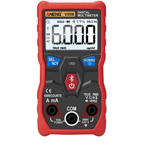 Multímetro inalámbrico Bluetooth (sin batería), multímetro digital profesional de cadena de multímetro de corriente y voltaje, con fácil manejo