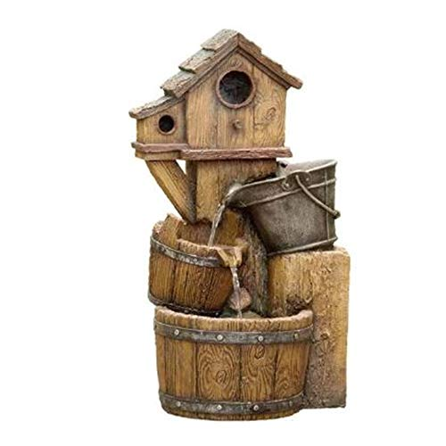 Jeco Bird House Outdoor Water Fountain Without Light