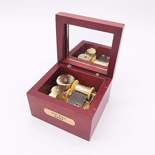 Wood Music Box,Mini Music Box with Yunsheng Movement,Play Silent Night,Rose Wood