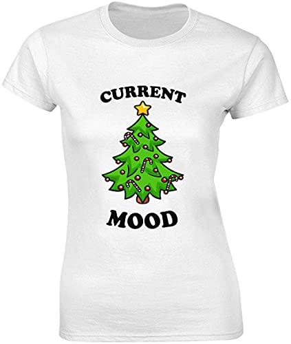 Current Mood T-shirt pour femme Motif sapin de Noël - Blanc - Large