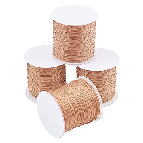 PandaHall Cordón de nailon de 1 mm para nudos chinos, Kumihimo, abalorios, macramé, joyería, costura, pulseras de amistad, 109 yardas/rollo