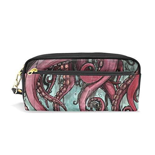 jstel Octopus Angeln Muster Schule Bleistift Tasche für Kid Jungen Kinder Teens Stifthalter Kosmetik Make-up-Tasche Frauen Haltbare Stationery Pouch Bag großes Fassungsvermögen