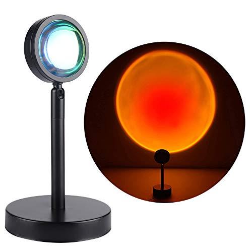 Sunset Night Light ALED LIGHT 360 grados de rotación Lámpara de proyección de luz de puesta de sol, luz LED romántica para niños adultos (Sunset Red)