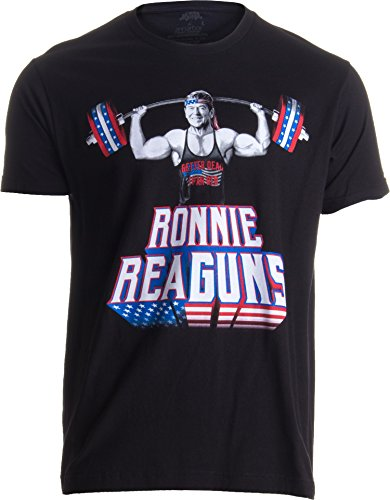 Ronnie ReaGUNS | Funny Muscle Weight Lifting Work Out Patriot Merica USA T-Shirt-(Adult,XL) Black