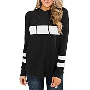 Trendy Queen Women's Casual Color Block Hoodie Sweatshirts Long Sleeve Stripe Print Warm Tunic Pullover Tops
