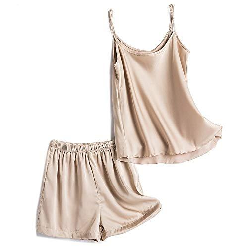 Conjunto De Pijamas Para Mujer,Conjunto De Pijama Halter Sexy Para Mujer, Conjunto De Babydoll De Satén De Champán, Ropa De Dormir, Camisola De Satén, Tops, Pantalones Cortos, Conjunto De Vestido