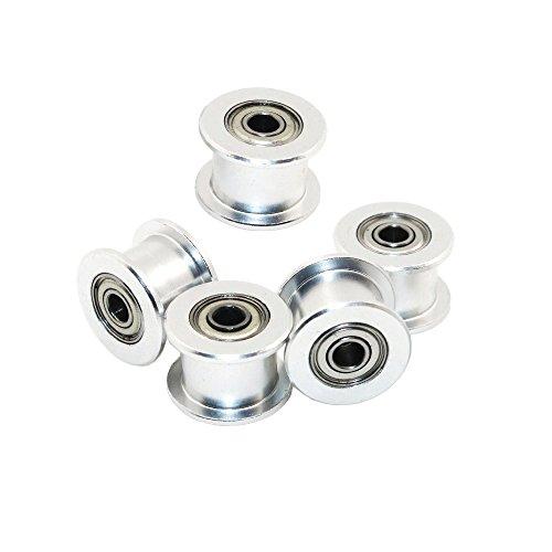 Redrex 5Pcs Zahnlos 3mm Bohrung GT2 Zahnriemen Spannrolle für 3D-Drucker 6mm Breite Zahnriemen