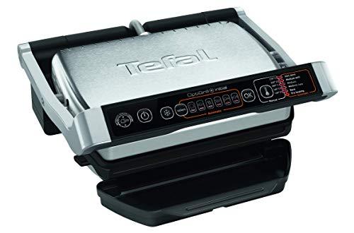 Tefal - Parrilla eléctrica OptiGrill Initial GC706D12 - Sensor automático de cocción, 5 niveles de cocción, 6 programas automáticos, 2000 W de potencia, placas aptas para lavavajillas