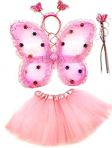 Tante Tina Costume da Farfalla per Bambina - Vestito Farfalla da Bimba in 4 Pezzi: Gonna...