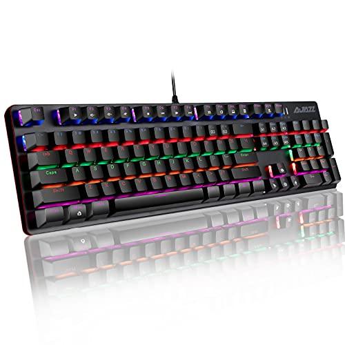 Tastiera da gioco meccanica con interruttore blu Tastiera cablata AJAZZ AK33 Pro con 32 modalità Illuminazione Tastiera anti-ghosting al 100% per PC Windows / Mac Gamer