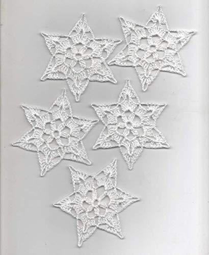 Häkelsterne-Weihnachtssterne-5er Set Sterne/Schneesterne in weiss