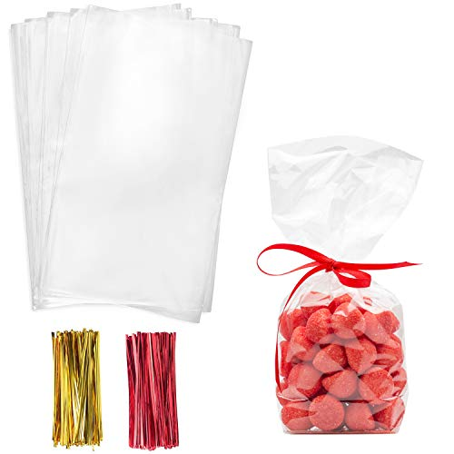 Cello Cellophane Treat Bags,6x12 Inches Cellophane Bags 200 Pcs with Twist Ties Plastic Cello Bags for Packaging Dessert,Bakery, Candies,Cookies,Chocolate,Party Favors