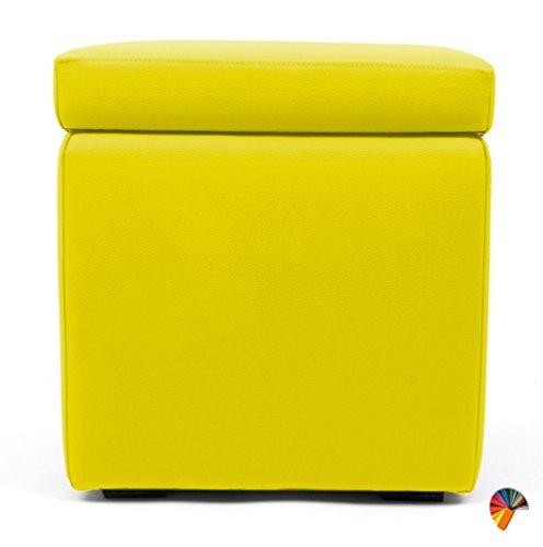 Arketicom Pouf repose-pied Cube Boîte Banc design moderne en simili cuir ou tissu microfibre 42 x 42 x 42 cm fait à la main avec Base en bois et assise en polyuréthane Pouf Tabouret Schtroumpf salon chambre de lit vert rouge blanc noir marron bleu orange gris beige jaune moutarde