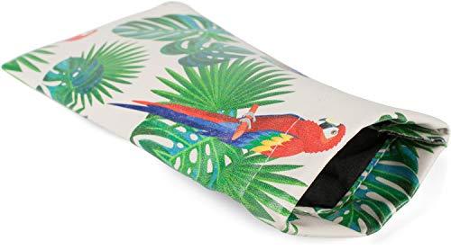 styleBREAKER Etui voor zonnebrillen met papegaaienpalmprint en reinigingsdoekje, brillenkoker met kliksluiting, uniseks 09020113