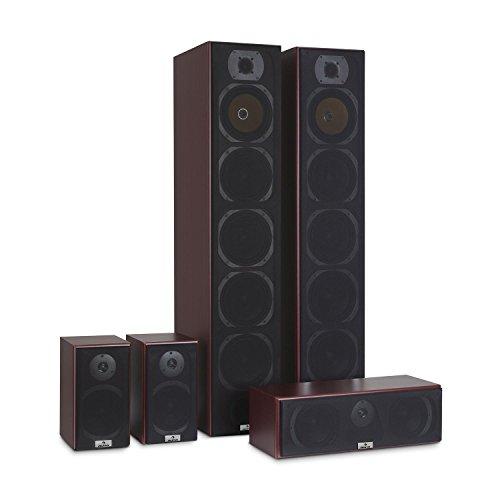 auna V9B Juego de Altavoces - Set 5 Altavoces, Home Cinema, Equipo de Sonido Envolvente, Bassreflex con Cubierta veteada, 400 W Pot. Media, Montaje en Pared, Frecuencia 20 Hz a 20 kHz, Caoba