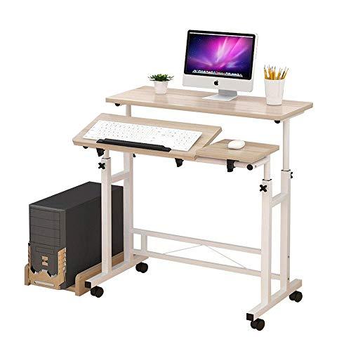 FACAZ tavolino Scrivania per Computer Stabile, scrivania per Computer a Forma di Z con Tastiera Scorrevole per Ufficio in casa, 85 x 58 x 90 cm