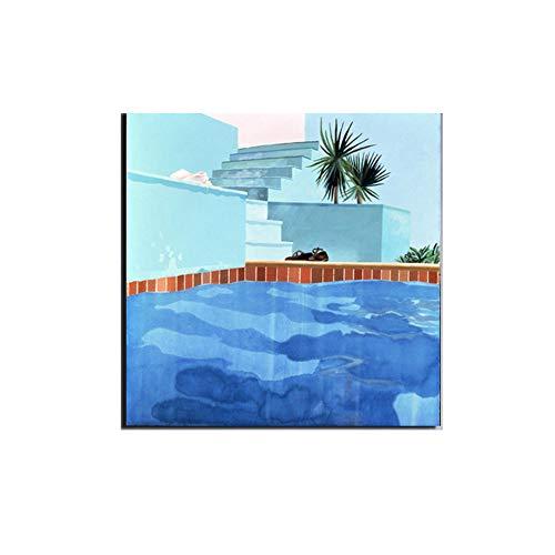 David Hockney Lienzo Pintura Piscina Poster Imprimir Realismo Pared Arte Pintura FotografíA Cuadro Moderno Salon HabitacióN Decoracion 40x40cm No Marco