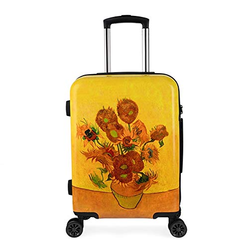 20'' Suitcase Trolley,Van Gogh Sunflowers Lightweight Durable Hardshell ABS Carry On Hand Cabin Luggage with TSA Lock/4 Mute Spinner Wheels/Dust Bag,for Travel/Business Trip