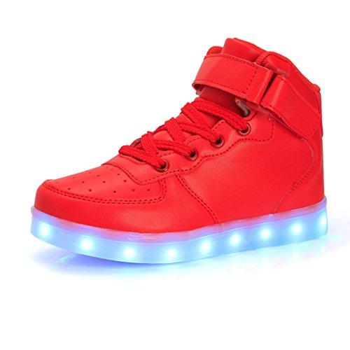 DoGeek LED Schuhe Kinder 7 Farbe USB Auflade Leuchtend Sportschuhe Led Sneaker Turnschuhe (Wählen Sie 1 größere Größe) (34 EU, Rot)