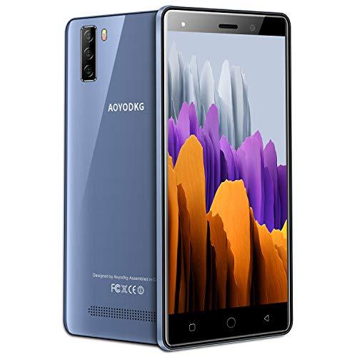 4G Telephone Portable debloqué, 16Go ROM/64 Extensible, Android 9,0, 5.0 Pouces Smartphone Pas Cher, Dual SIM 5MP+ 8MP 3400mAh Téléphone Portable Pas Cher sans Forfait,WiFi/GPS/Bluetooth (Bleu)