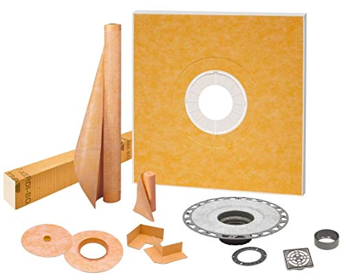 Schluter Systems KK122PVCE Kerdi 48-Inch x 48-Inch PVC Shower Kit with Stainless Steel Drain