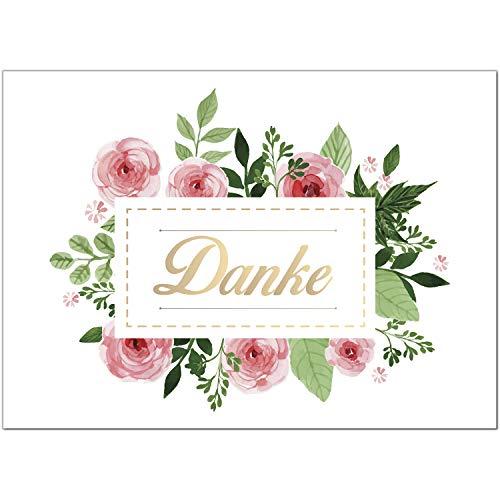 15 x Dankeskarten mit Umschlag - Rosa Rosen - Danksagungskarten, Danke sagen, nach Hochzeit, Geburt, Baby, Taufe, Geburtstag, Kommunion, Konfirmation, Jugendweihe