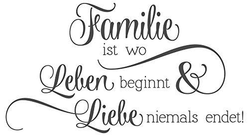 dekodino® Wandtattoo Spruch Familie ist, wo Leben beginnt Deko