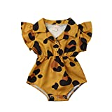 Toddler Newborn Infant Baby Girl Ruffle Blouse Romper Summer Cute Short Jumpsuit Clothes (Mustard Yellow(Leopard), 3-6 Months)