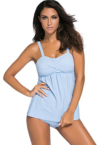 Aleumdr Women's Two Pieces Swing Tankini Swimsuits with Triangle Briefs Swimsuit Light Blue XXXL